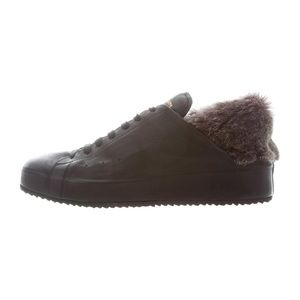 Black Ace Sneaker with Fur